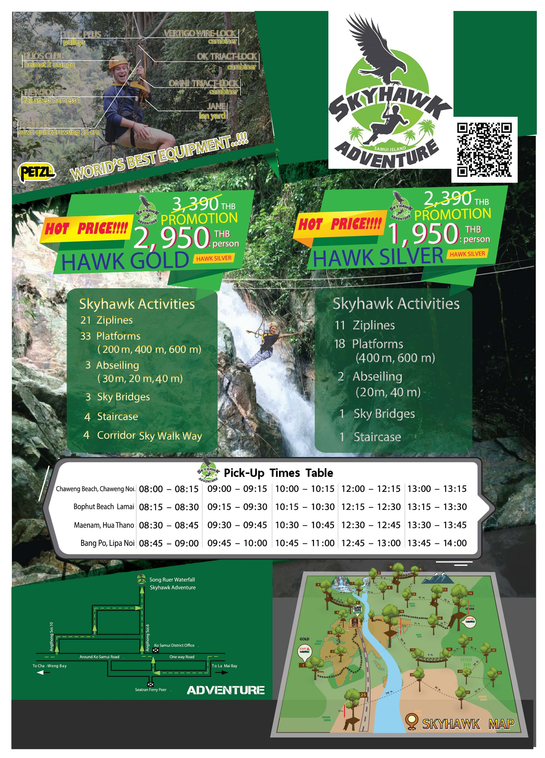 Skyhawk Adventure Opening on 2017 to provide the biggest and longest Zipline on Koh Samui with 33 platforms Flying through rain forest hidden waterfall and sea view